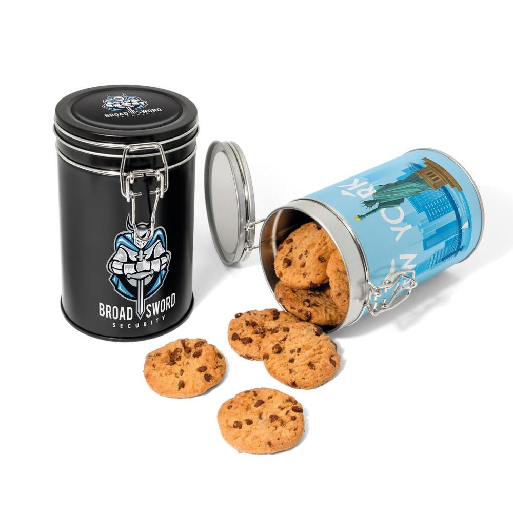Choc Chip Cookies in a Flip Top Tin